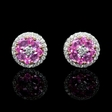 .50ct Diamond and Pink Sapphire 18k Two Tone Gold Cluster Halo Earrings