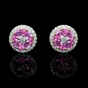 Diamond and Pink Sapphire 18k Two Tone Gold Cluster Halo Earrings