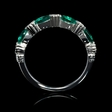 .24ct Diamond and Emerald Antique Style 18k White Gold Ring
