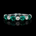 Diamond and Emerald Antique Style 18k White Gold Ring