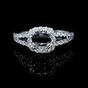 Diamond 18k White Gold Split Shank Halo Engagement Ring Setting