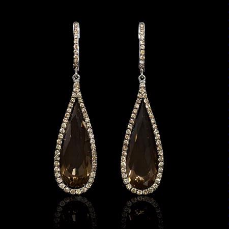 Diamond and Smokey Topaz 18k White Gold and Black Rhodium Dangle Earrings