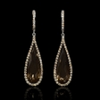 1.55ct Diamond and Smokey Topaz 18k White Gold and Black Rhodium Dangle Earrings