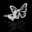 1.02ct Diamond Antique Style 18k White Gold Butterfly Ring