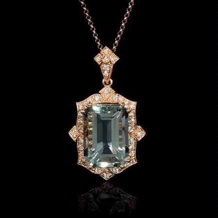 Diamond and Green Amethyst Antique Style 18k Rose Gold Pendant