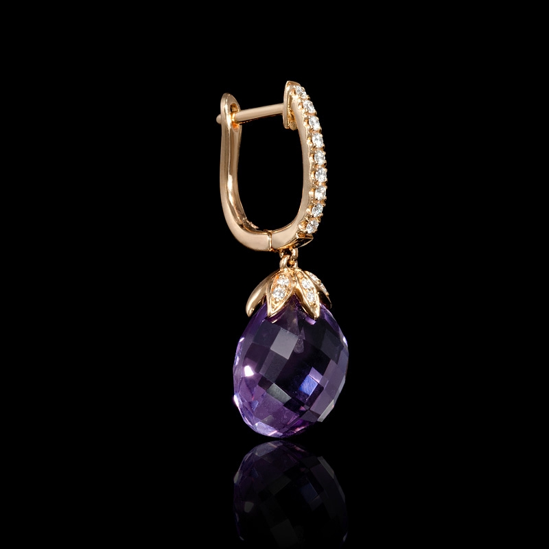 20ct diamond and purple amethyst 18k rose gold dangle. Black Bedroom Furniture Sets. Home Design Ideas