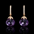 .20ct Diamond and Purple Amethyst 18k Rose Gold Dangle Earrings