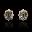 .38ct Diamond and Green Amethyst Antique Style 18k Rose Gold Cluster Earrings