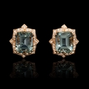 Diamond and Green Amethyst Antique Style 18k Rose Gold Cluster Earrings