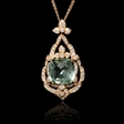 .64ct Diamond and Green Amethyst Antique Style 18k Rose Gold Pendant