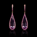 Pink Sapphire and Pink Amethyst 18k Rose Gold Dangle Earrings