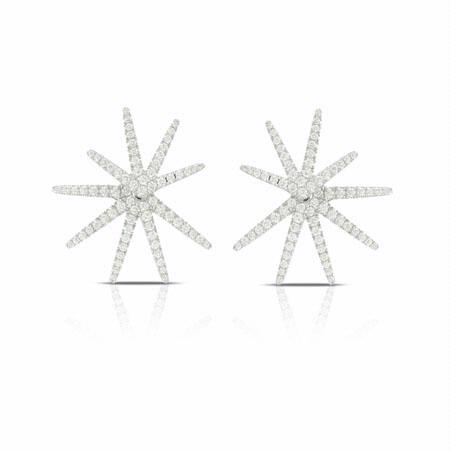 Doves Diamond 18k White Gold Cluster Earrings