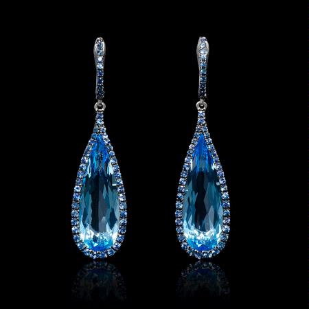 Blue Sapphire and Blue Topaz 18k White Gold and Black Rhodium Dangle Earrings