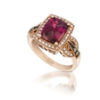 .34ct Le Vian Chocolatier Diamond and Raspberry Rhodolite Antique Style 14k Strawberry Gold Ring