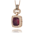 .28ct Le Vian Chocolatier Diamond and Raspberry Rhodolite Antique Style 14k Strawberry Gold Pendant Necklace