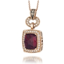 Le Vian Chocolatier Diamond and Raspberry Rhodolite Antique Style 14k Strawberry Gold Pendant Necklace
