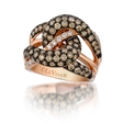 2.49ct Le Vian Chocolatier Diamond 14k Strawberry Gold Gladiator Weave Ring