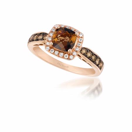 .39ct Le Vian Chocolatier Diamond and Chocolate Quartz 14k Strawberry Gold Ring