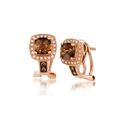 Le Vian Chocolatier Diamond and Chocolate Quartz 14k Strawberry Gold Earrings