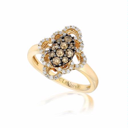 Le Vian Chocolatier Diamond 14k Honey Gold Framed Clusters Ring