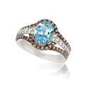 Le Vian Chocolatier Diamond and Sea Blue Aquamarine 14k Vanilla Gold Ring