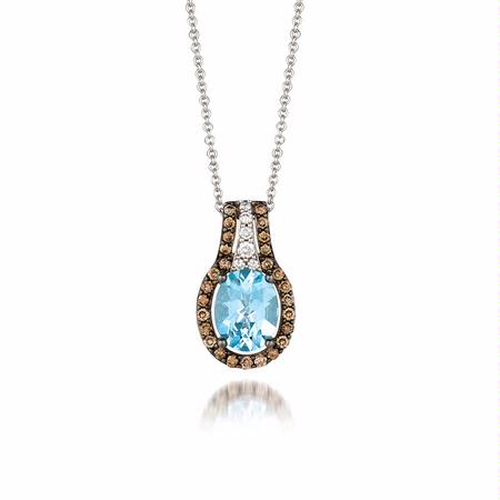Le Vian Chocolatier Diamond and Sea Blue Aquamarine 14k Vanilla Gold Pendant