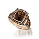 Le Vian Chocolatier Diamond and Chocolate Quartz 14k Strawberry Gold Ring