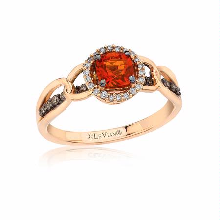 Le Vian Chocolatier Diamond and Neon Tangerine Fire Opal Link'ing 14k Strawberry Gold Ring