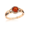 .22ct Le Vian Chocolatier Diamond and Neon Tangerine Fire Opal Link'ing 14k Strawberry Gold Ring