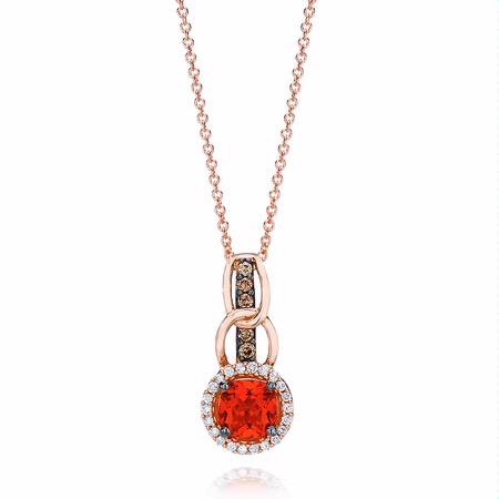 Le Vian Chocolatier Diamond and Neon Tangerine Fire Opal Link'ing 14k Strawberry Gold Pendant