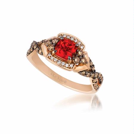 Le Vian Chocolatier Diamond and Neon Tangerine Fire Opal 14k Strawberry Gold Ring