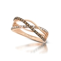Le Vian Petite Chocolate Diamond 14k Strawberry Gold Gladiator Ring