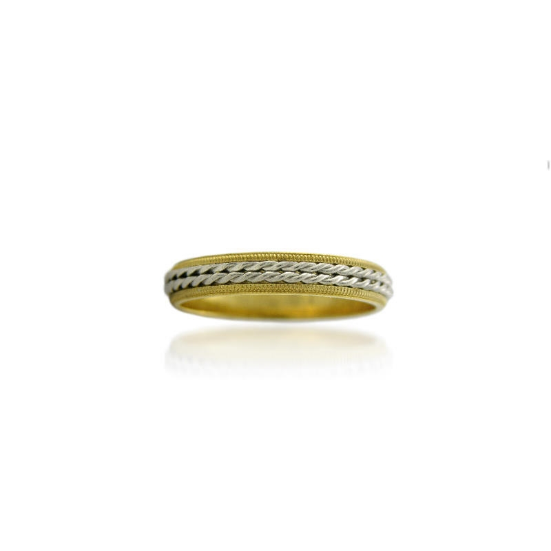 Mens Antique Style Platinum And 18k Yellow Gold Wedding Band Ring