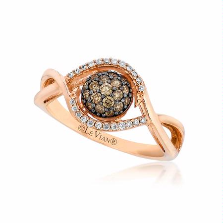 Le Vian Petite Chocolate Diamond 14k Strawberry Gold Framed Clusters Ring