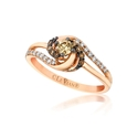 Le Vian Petite Chocolate Diamond 14k Strawberry Gold Sinuous Swirls Ring