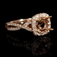 .40ct Diamond 18k Rose Gold Split Shank Halo Engagement Ring Setting