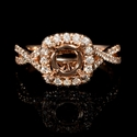 Diamond 18k Rose Gold Split Shank Halo Engagement Ring Setting