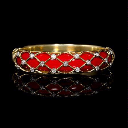 9f1ed0c8a224c .56ct Garavelli Diamond and French Enamel 18k Yellow Gold Bangle Bracelet