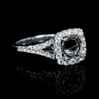 .63ct Diamond 18k White Gold Split Shank Halo Engagement Ring Setting