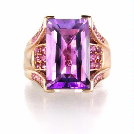 Lady's LeVian Amethyst and 14K Rose Gold Right Hand Ring