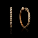 Diamond 18k Rose Gold and Black Rhodium Hoop Earrings
