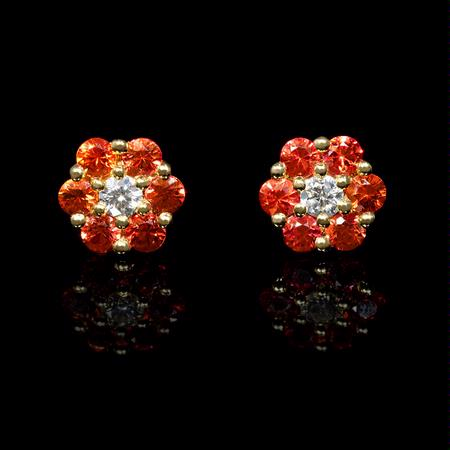 .08ct Diamond and Orange Sapphire 18k Yellow Gold  Cluster Flower Earrings
