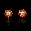Diamond and Orange Sapphire 18k Yellow Gold Cluster Flower Earrings
