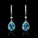 Diamond and Blue Topaz 18k White Gold Dangle Earrings