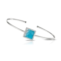 Doves Diamond, White Topaz and Turquoise 18k White Gold Bangle Bracelet