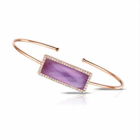 Doves Diamond, Amethyst and Pink Mother of Pearl 18k Rose Gold Bangle Bracelet