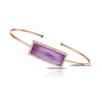 .28ct Doves Diamond, Amethyst and Pink Mother of Pearl 18k Rose Gold Bangle Bracelet