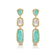 .96ct Doves Diamond, White Topaz, Amazonite and Mother of Pearl 18k Yellow Gold Dangle Earrings