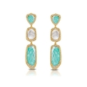 Doves Diamond, White Topaz, Amazonite and Mother of Pearl 18k Yellow Gold Dangle Earrings