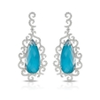 1.66ct Doves Diamond, White Topaz and Turquoise 18k White Gold Dangle Earrings